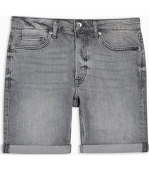 mens grey stretch skinny denim shorts