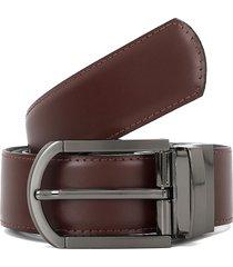 cinturon negro/vino preppy reversible elegante con costura