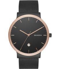 skagen men's ancher black stainless steel mesh bracelet watch 40mm skw6296