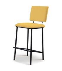 banqueta marcele aço preto assento/encosto estofado linho amarelo daf