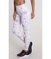calça legging feminina esportiva ace estampada floral com proteção uv50+ branca