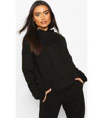 fleece back knot detail drawstring oversized hoodie, black
