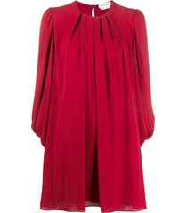 alexander mcqueen pleated shift dress - red