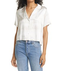 rails maui satin short sleeve button-up shirt, size x-small in sand tide at nordstrom