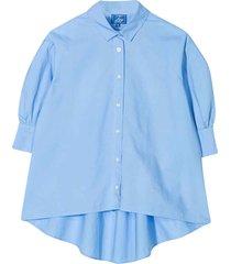 fay blue oversized shirt with short sleeve