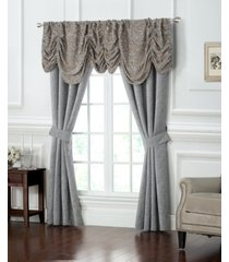 """waterford carrick textured 50"""" x 84"""" pole top window panel pair with tiebacks bedding"""