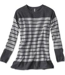cotton/cashmere/silk striped tunic sweater, charcoal, x large
