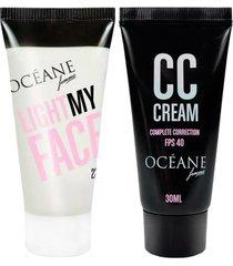 océane light my face + complete correction kit - iluminador facial + cc cream kit
