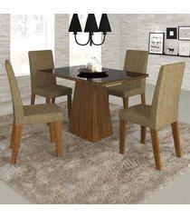mesa de jantar 4 lugares merengue com vidro preto 11572 seda/neve - mobilarte móveis