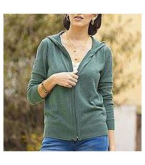 cotton blend hooded cardigan, 'simple delight in viridian' (peru)