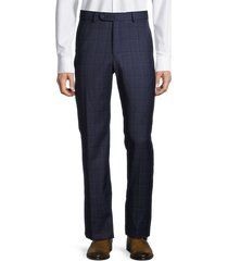 saks fifth avenue men's standard-fit windowpane check wool pants - blue - size 38