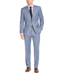 marc new york by andrew marc men's slim-fit stretch light blue windowpane suit