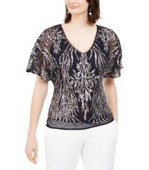 r & m richards sequin v-neck blouse