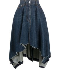 sacai asymmetrical draped denim skirt - blue