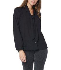 women's nydj bow blouse, size xx-small - black
