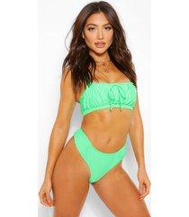 ruched bandeau bikini top, green