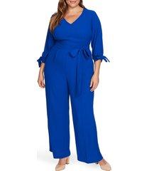 plus size women's cece tie sleeve moss crepe jumpsuit, size 16w - blue