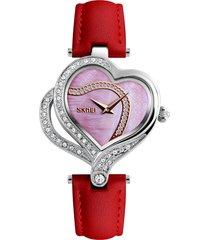 skmei dolce amore cuore moda orologi di cristallo cinturino in pelle orologi al quarzo per le donne