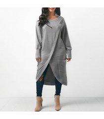 zanzea 2018 invierno de las mujeres de cuello redondo de manga larga midi vestidos de ocio sólido holgados irregulares splits trabajo ol vestido gris kaftan -gris
