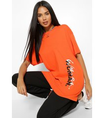 woman side print t-shirt, orange