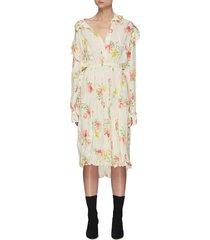 ruffled shoulder vintage floral print silk dress