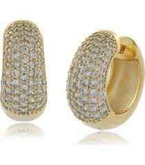 brinco maxi argola com mini zircônias cravejadas 3rs semijoias dourado