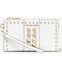 mk portafoglio adele per smartphone in pelle saffiano con borchie - bianco ottico (bianco) - michael kors