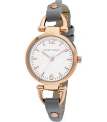 laura ashley ladies' logoed white dial with analog display twisted rose gold band round watch