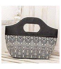 leather accent cotton handle handbag, 'black kaleidoscope' (guatemala)
