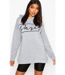 lang oversized hoodie met 'parijs'-print, grijs