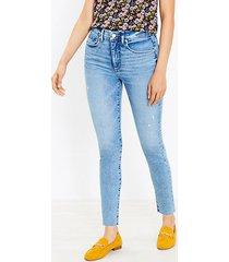 loft curvy fresh cut high rise skinny jeans in classic light indigo wash