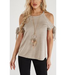 beige lace-up design crew neck short sleeves t-shirts