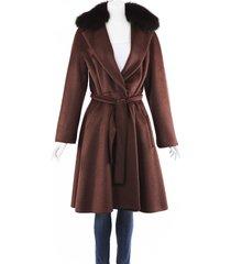 max mara alpaca fox fur belted coat