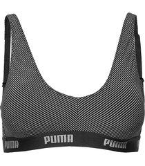 puma metal stripe bralette 1p hang lingerie bras & tops bra without wire grå puma