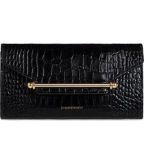 strathberry multrees croc embossed leather wallet on a chain in black at nordstrom