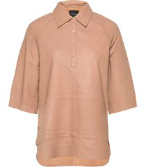 slfannabella 3/4 leather shirt b kortärmad skjorta beige selected femme