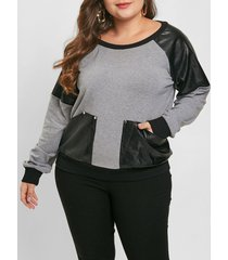 plus size faux leather panel sweatshirt