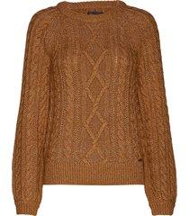 cable crewneck stickad tröja brun abercrombie & fitch
