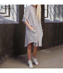 zanzea partido de la manera con estilo de vacaciones con estilo asimétrico larga de las señoras camisa de vestir de gris -gris
