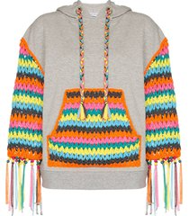 mira mikati crochet panelled hoodie - grey