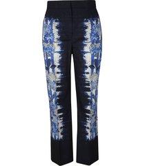 alberta ferretti floral printed straight leg trousers