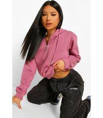 petite oversized hoodie met korte rits, mauve