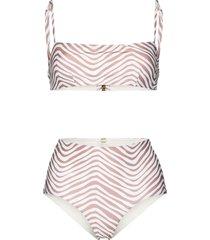 cloe cassandro tahiti stripe-pattern bikini - white