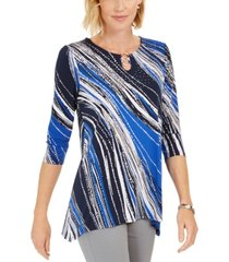 jm collection printed hardware keyhole tunic, created for macy's