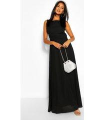 gelegenheids maxi jurk met laag uitgesneden rug, zwart