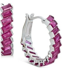 certified ruby baguette hoop earrings (3 ct. t.w.) in sterling silver(also available in emerald and sapphire)