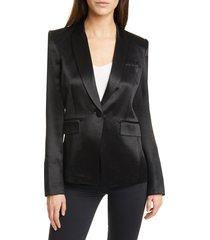 women's veronica beard athens satin dickey jacket, size 12 - black