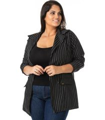 blazer alongado risca de giz plus size confidencial extra feminina