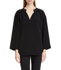 women's co wide sleeve gathered crepe tunic top