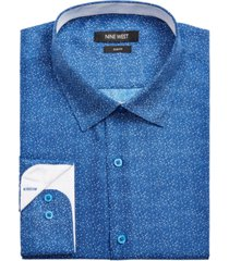 nine west men's slim-fit performance stretch dot-print dress shirt